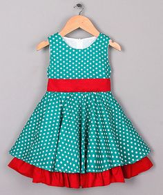 Another great find on #zulily! Green Polka Dot Sleeveless Twirl Dress - Toddler & Girls #zulilyfinds