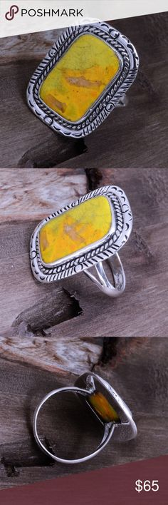"""Large Sterling Silver & Bumblebee Jasper Ring Stamped """"925"""". Top Dimension: 31mm x 24mm  This is not a stock photo. The image is of the actual article that is being sold  Sterling silver is an alloy of silver containing 92.5% by mass of silver and 7.5% by mass of other metals, usually copper. The sterling silver standard has a minimum millesimal fineness of 925.  All my jewelry is solid sterling silver. I do not plate.   Hand crafted in Taxco, Mexico.  Will ship within 2 days of order…"""