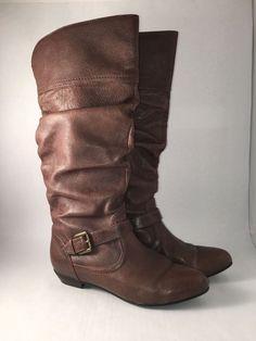 Steve Madden Kambyy Boot Size 8M Leather Slouch Buckle Brown  #SteveMadden #SlouchBoots #Everyday