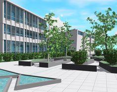 Render di un istituto superiore nel Napoletano, realizzato con Revit 2011