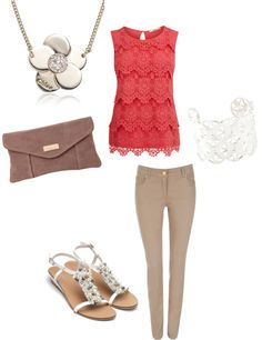 """Love the coral lace top!"" by jamie-preston on Polyvore"