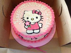Birthday Cake Hello Kitty Picture Hello Kitty Buttercream Cake My Cakes Pinteres. Hello Kitty Torte, Bolo Da Hello Kitty, Hello Kitty Fondant, Hello Kitty Birthday Cake, Small Birthday Cakes, Make Birthday Cake, Happy Birthday Cakes, Buttercream Cake, Cake Toppers