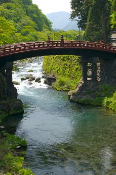 Sacred Shinkyo bridge over the Daiya river, at the Futarasan jinja Shinto shrine, Nikkō, Japan (which, together with 2 other nearby shrines, is a UNESCO World Heritage Site)