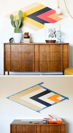 DIY Retro Diamond Focal Wall | Click Pic for 36 DIY Wall Art Ideas for Living Room | DIY Wall Decorating Ideas for the Home