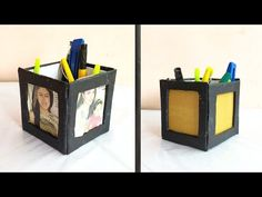 Diy photo frame with pen stand Photo Frame Decoration, Cardboard Crafts, Diy Photo, Pen Holders, Diy Gifts, Bookends, Make It Yourself, School, Youtube