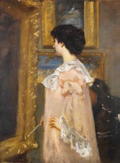 """Portrait of an Artist in Her Studio"" (c.1880) by Charles Emile-August Carolus-Duran"