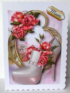 Stunning Shoes The Paris Collection Glory Roses on Craftsuprint designed by Anne Lever - made by Margaret McCartney - I printed the design onto good quality photographic paper and cut it out. I scored and folded a C5 scalloped edged card. I attached the design to the card using double sided tape. I assembled the decoupage using thin foam tape. I added the greeting using thin foam tape. - Now available for download!