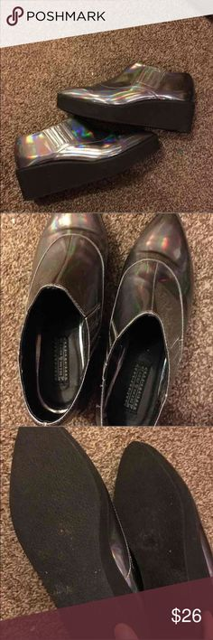 Holographic creepers 7.5 Uo shoes size 7.5 fits best I'm an 8 and they were kinda tight Urban Outfitters Shoes Platforms