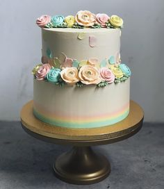 Love that little strip of rainbow at the bottom tier of cake.