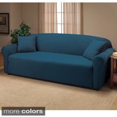 Leather Sofa Madison Stretch Jersey Sofa Slipcover Navy Blue Solid