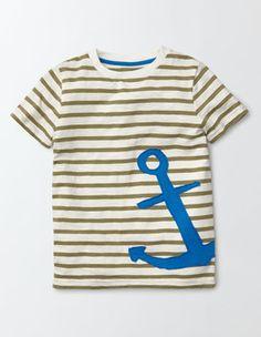 Genopptes T-Shirt mit Streifen und Applikation Boden