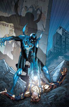 "league-of-extraordinarycomics: ""Blue Beetle vs Booster Gold by Paul Renaud "" Dc Comics Heroes, Arte Dc Comics, Dc Comics Characters, Teen Titans, Comic Books Art, Comic Art, Book Art, Comic Wallpaper, Superhero Villains"