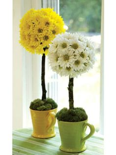 Have a ball! A sunny topiary with real daisies brightens a mantel, or if you use faux flowers it'll bring cheer all year. Insert a long stick or ribbon-wrapped dowel into the bottom of the daisy-covered ball and stake it in a yellow mug filled with floral foam. Cover the foam with tufts of Spanish moss.
