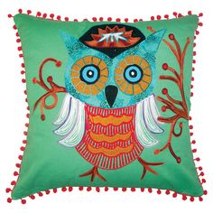 {Owl Pillow} that is one jaunty owl!