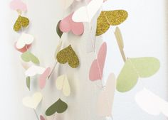 Pink Green Lemon Gold Glitter Paper Garland , Party Decoration , Pink Baby  Shower Decor, Nursery Decor