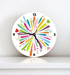 Wall clock bright rainbow colorful fun color burst wall clock kids wall clock home wall decor easter spring gift under 50