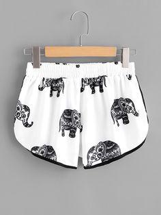 Casual Tribal Track Shorts Regular Elastic Waist Mid Waist Black and White Elephant Print Ringer Shorts Plus Size Shorts, Plus Size Outfits, Trendy Outfits, Cute Outfits, Fashion Outfits, Womens Fashion, Fashion Sale, Fashion Fashion, Fashion Ideas