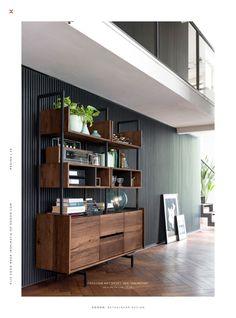 XOOON NL Lookbook - XOOON Lookbook voorjaar 2019 - Pagina 10-11 Home Office Setup, Home Office Space, Industrial Style Furniture, Metal Furniture, Living Room Divider, Living Room Interior, Loft Playroom, Muebles Living, Desk Inspiration