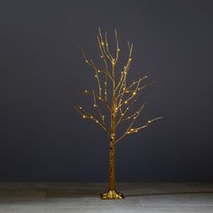 """Our Gold Sparkle Tree with miniature white lights lends a magical holiday glow to any indoor setting, on its or decked with holiday ornaments. 48"""" tall. Electric CUL adapter. Indoor only. Available only at Indigo."""