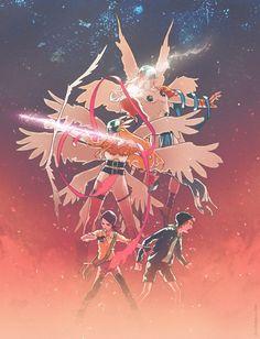 Digimon Adventure: Hikari (Kari) and Takeru (T.K.) with Angewomon & Angemon