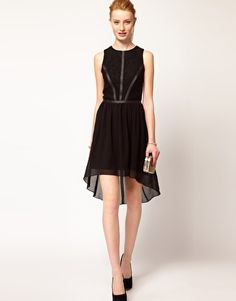 Enlarge Oasis Lace & Leather Look Dress With Dipped Hem