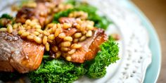 Urvashi's salmon teriyaki recipe is quick and simple to make, packed with flavour and served with a healthy kale and barley salad. Kale Recipes, Salmon Recipes, Seafood Recipes, Asian Recipes, Cooking Recipes, Ethnic Recipes, Japanese Recipes, Ground Turkey Casserole, How To Cook Barley