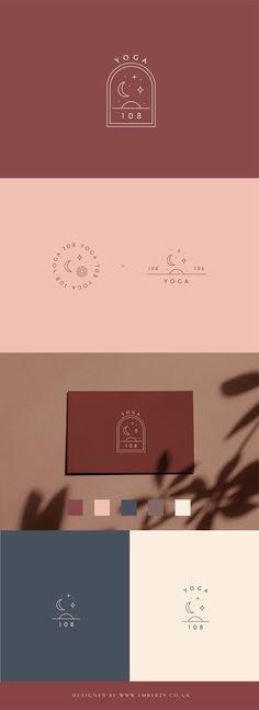 Yoga Studio Logo Small Business Branding by Ember 29 Logo Branding Feminine Emblem Star Moon Sun Logo Elegant Event Design Mood Board Beauty Brand Boards Minimal Autumn Branding. Business Branding, Logo Branding, Business Cards, Branding Website, Wedding Branding, Event Branding, Business Logo Design, Corporate Branding, Business Ideas