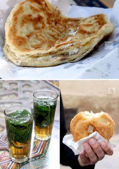 "Moroccan sweet snacks: pancake filled with fresh goat cheese & honey. Hot mint tea. Crispy donut called ""sfenj"""