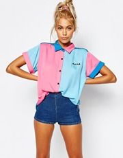 Lazy Oaf Short Sleeve Bowling Shirt With Bad Luck Slogan Image 1 of Lazy Oaf Short Sleeve Bowling Shirt With Bad Luck Slogan Cool Outfits, Summer Outfits, Casual Outfits, Ropa Color Pastel, Mode Disco, 80s Fashion, Fashion Outfits, Fashion Online, Fashion Tips