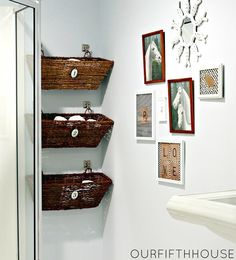 11 Small Bathroom Organization Ideas: use window boxes used as bathroom storage by Our Fifth House