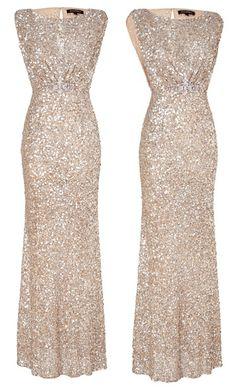 Jenny Packham soft gold sequined sleeveless dress, worn to Tusk Awards Sept 12, 2013