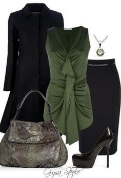 LOLO Moda: Winter fashion 2013 - army green with a pencil skirt...hot!