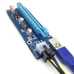 USB3.0 PCI-E Express 1x To 16x Extender Riser Card Adapter SATA 6Pin Power Cable July19#2 #Affiliate