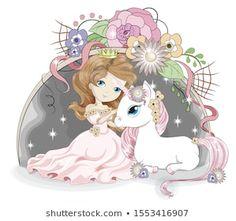 Hand Drawn Beautiful Cute Little Princess Stock Vector (Royalty Free) 1244179714 Little Princess, Princess Girl, Cutting Edge Stencils, Fairy Drawings, Cute Drawings, Design Studio, Design Art, Unicorn Fantasy, White Unicorn