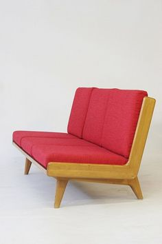 Carl Gustaf Hiort Af Ornäs; Oak, Leather and Textile Sofa, 1950s.