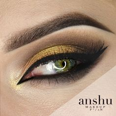Another flawless look by Anshu! This one's called 'Golden Eye', and that pop of gold is Makeup Geek's Foiled Eyeshadow in the shade Fortune Teller.