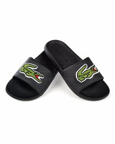 LACOSTE © Slides Big Croco - Black | BEST PRICE Logo Azul, Credit Card Transfer, Lacoste Shoes, Macedonia, Online Shopping Clothes, Flip Flops, Champions, Sandals, Big