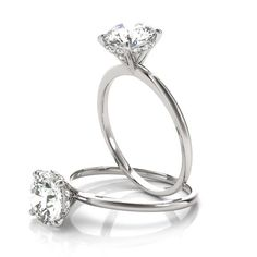 bd7bf9dc15382 Engagement Ring -Classic Delicate Solitaire Engagement Ring with Diamond  Accents-ES1704 Wedding Rings Solitaire