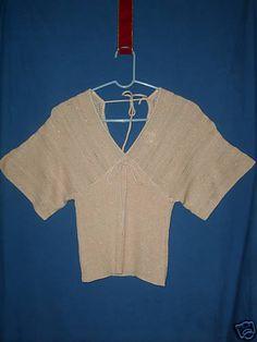 Sz XS Sweater Top Gold Cream V Neck Back Raglan Short Sleeve Ties In Back