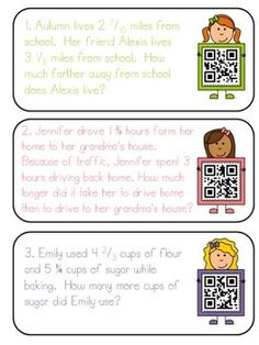 Mixed Numbers- Adding and Subtracting QR code Task Cards 5th Grade Math, Math Class, Second Grade, Adding And Subtracting Fractions, Number Words, Qr Codes, Word Problems, 5th Grades, Task Cards