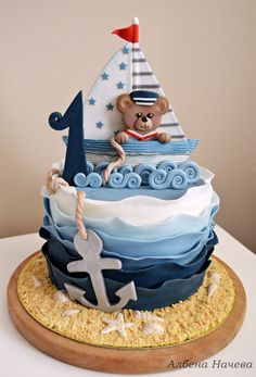 Captain Teddy Bear by My sweet hobby cake wedding cake kindergeburtstag ohne backen rezepte schneller cake cake Nautical Birthday Cakes, Toddler Birthday Cakes, Boys First Birthday Cake, Nautical Cake, Cool Birthday Cakes, Bear Birthday, Torta Baby Shower, Shower Cakes, Rodjendanske Torte