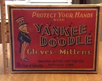 Yankee Doodle Gloves & Mittens Store Display Box, UNCLE SAM, Dubuque Iowa