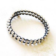 Bracelets, Bracelet Deux Tours - Mémoire de Forme « Strass » est une création orginale de lfeemain sur DaWanda
