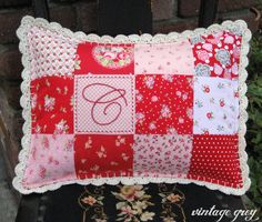 vintage grey-patchwork pillow