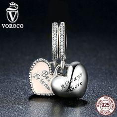 Real 925 Sterling Silver Best Friends Soft Pink Enamel & Clear CZ Pendant Fit Pandora Bracelets Fashion Jewelry S376