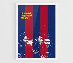 Luis Suarez, Neymar, Lionel Messi Barcelona FC Football Poster - A3 Wall Art Print Poster, Minimalist Poster, Football Poster, Soccer Poster