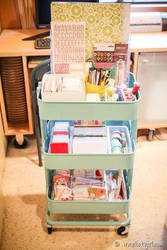 Project Life Organization in an Ikea Raskog cart - listgirl Project Life Storage, Project Life Organization, Scrapbook Organization, Office Supply Organization, Craft Room Storage, Scrapbook Supplies, Craft Rooms, Storage Ideas, Craft Space