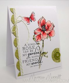 handmade card from Mama Mo Stamps ... delightful rose colored with Copics ... like the card design with balanced asymmetrical  elements ...