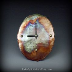 Raku Oval Clock on Etsy, $48.00