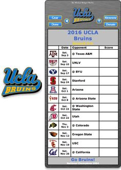 Free 2016 UCLA Bruins Football Schedule Widget - Go Bruins! - National Champions 1954  http://riowww.com/teamPages/UCLA_Bruins.htm